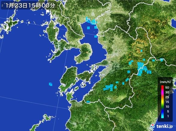 熊本県の雨雲レーダー(2017年01月23日)