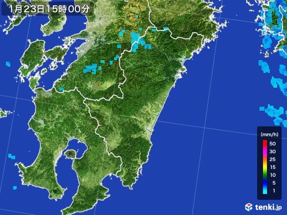 宮崎県の雨雲レーダー(2017年01月23日)