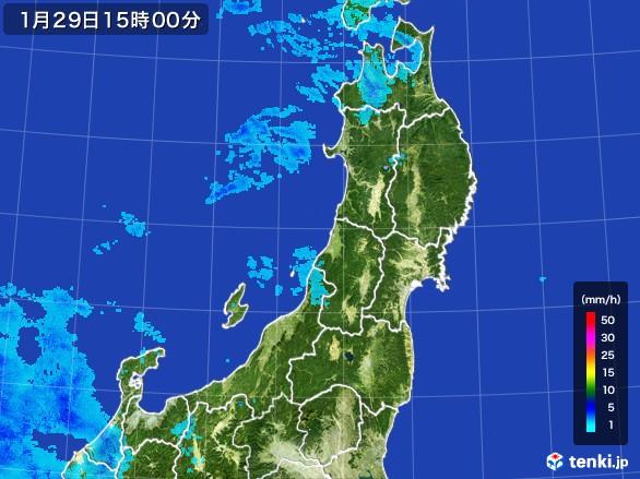 東北地方の雨雲レーダー(2017年01月29日)