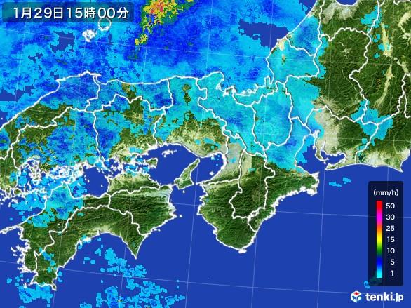 近畿地方の雨雲レーダー(2017年01月29日)