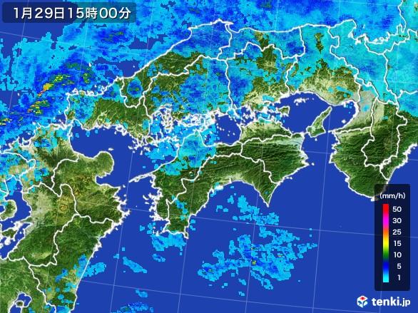 四国地方の雨雲レーダー(2017年01月29日)