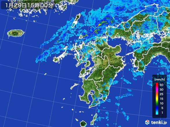 九州地方の雨雲レーダー(2017年01月29日)