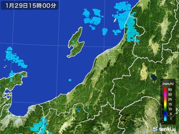 新潟県の雨雲レーダー(2017年01月29日)