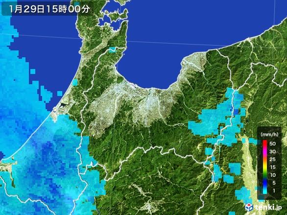 富山県の雨雲レーダー(2017年01月29日)