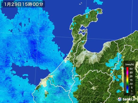 石川県の雨雲レーダー(2017年01月29日)