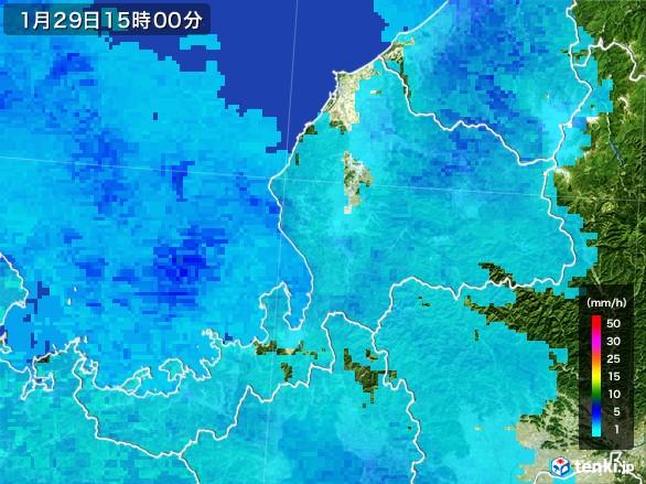 福井県の雨雲レーダー(2017年01月29日)
