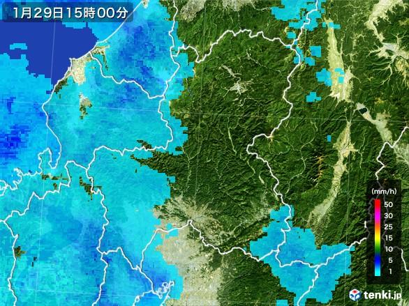 岐阜県の雨雲レーダー(2017年01月29日)