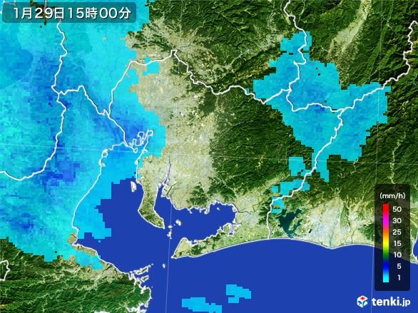 愛知県の雨雲レーダー(2017年01月29日)