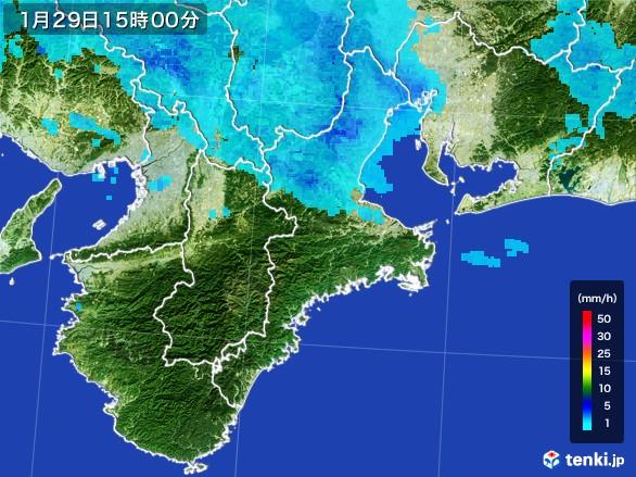 三重県の雨雲レーダー(2017年01月29日)