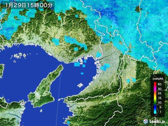 大阪府の雨雲レーダー(2017年01月29日)
