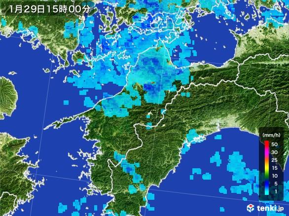 愛媛県の雨雲レーダー(2017年01月29日)