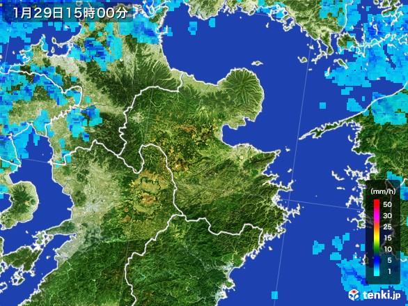 大分県の雨雲レーダー(2017年01月29日)