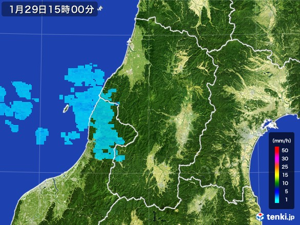 山形県の雨雲レーダー(2017年01月29日)