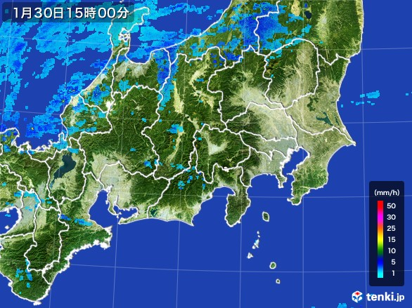 関東・甲信地方の雨雲レーダー(2017年01月30日)