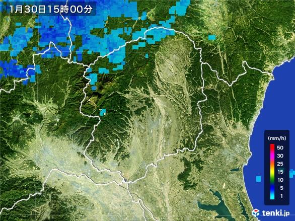 栃木県の雨雲レーダー(2017年01月30日)