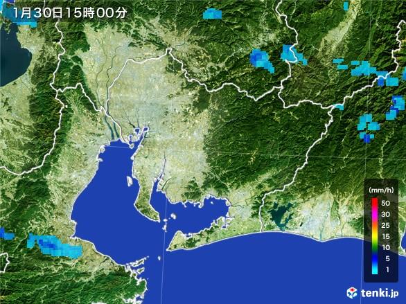 愛知県の雨雲レーダー(2017年01月30日)