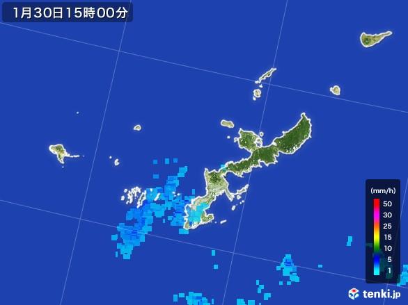 沖縄県の雨雲レーダー(2017年01月30日)