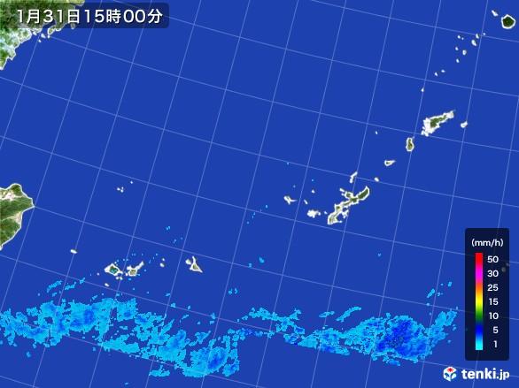 沖縄地方の雨雲レーダー(2017年01月31日)