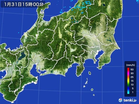 関東・甲信地方の雨雲レーダー(2017年01月31日)