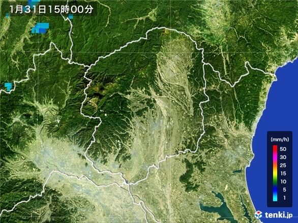 栃木県の雨雲レーダー(2017年01月31日)