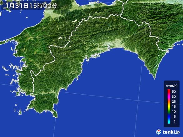高知県の雨雲レーダー(2017年01月31日)