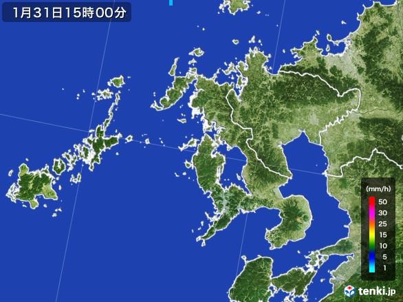 長崎県の雨雲レーダー(2017年01月31日)