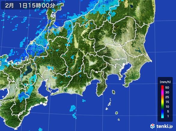 関東・甲信地方の雨雲レーダー(2017年02月01日)