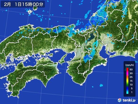 近畿地方の雨雲レーダー(2017年02月01日)