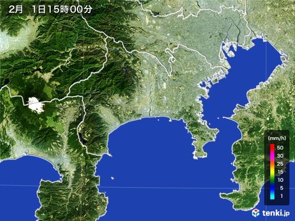 神奈川県の雨雲レーダー(2017年02月01日)