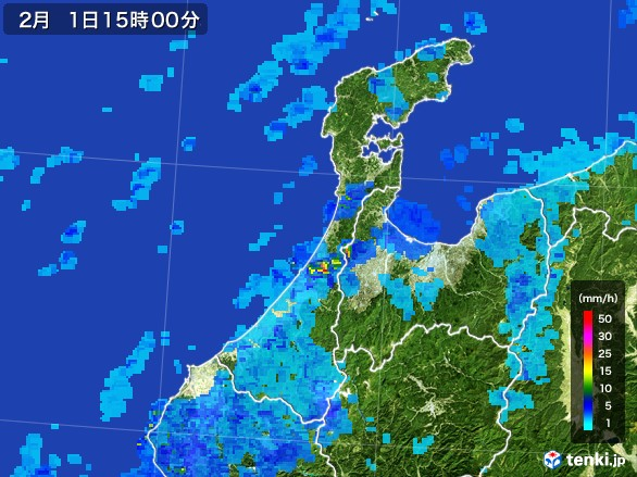 石川県の雨雲レーダー(2017年02月01日)