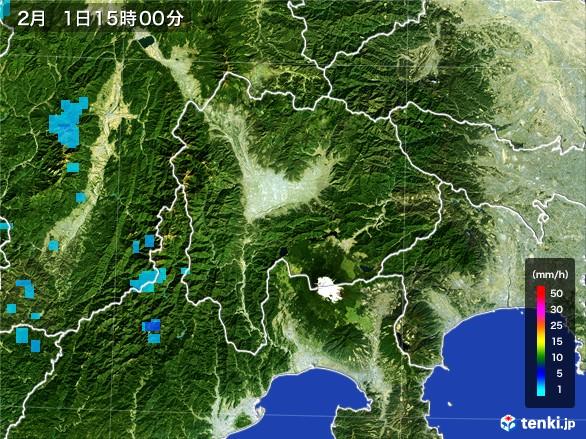 山梨県の雨雲レーダー(2017年02月01日)