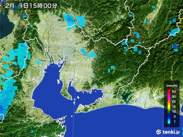 愛知県の雨雲レーダー(2017年02月01日)