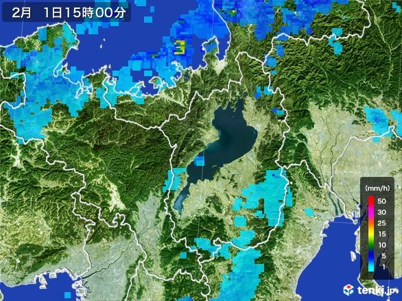 滋賀県の雨雲レーダー(2017年02月01日)