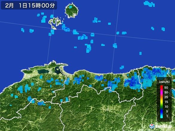 鳥取県の雨雲レーダー(2017年02月01日)