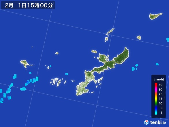 沖縄県の雨雲レーダー(2017年02月01日)