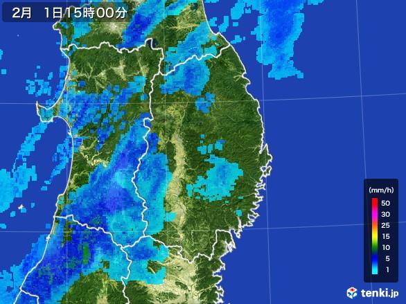 岩手県の雨雲レーダー(2017年02月01日)