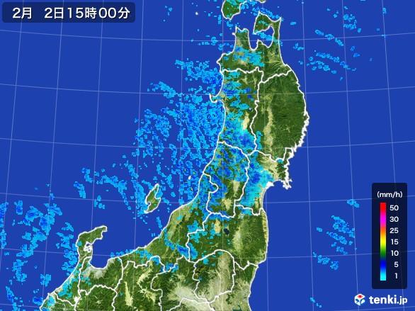 東北地方の雨雲レーダー(2017年02月02日)