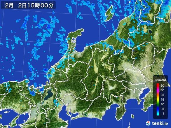 北陸地方の雨雲レーダー(2017年02月02日)