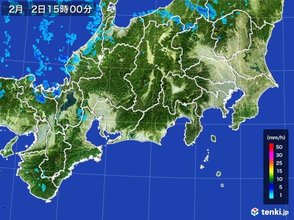 東海地方の雨雲レーダー(2017年02月02日)
