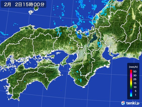 近畿地方の雨雲レーダー(2017年02月02日)