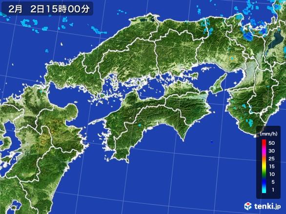 四国地方の雨雲レーダー(2017年02月02日)