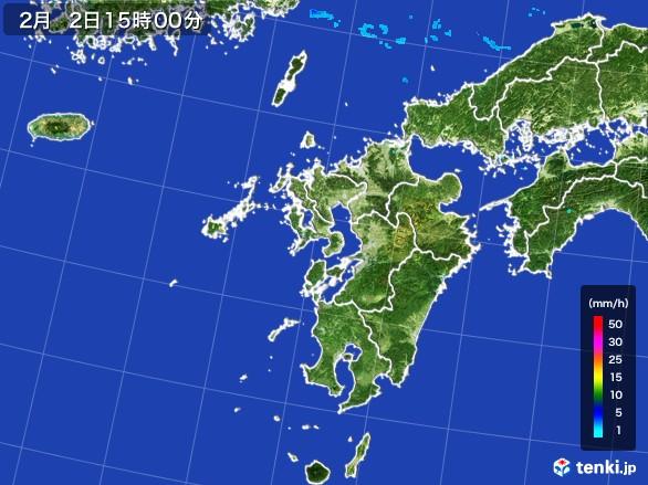 九州地方の雨雲レーダー(2017年02月02日)