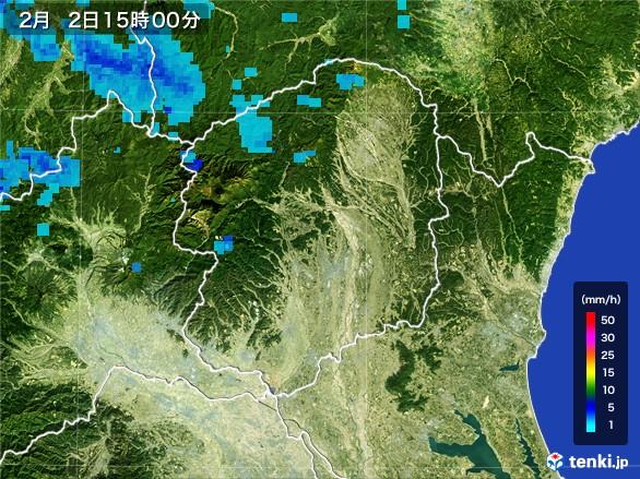 栃木県の雨雲レーダー(2017年02月02日)