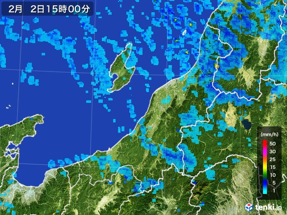新潟県の雨雲レーダー(2017年02月02日)