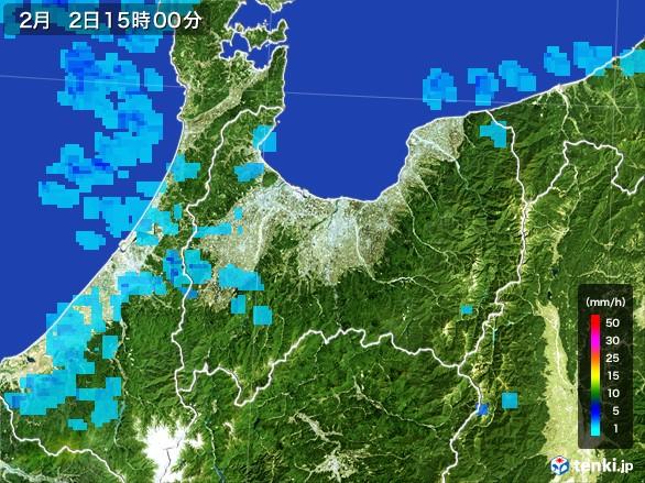 富山県の雨雲レーダー(2017年02月02日)