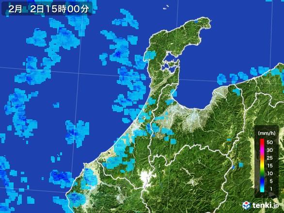 石川県の雨雲レーダー(2017年02月02日)