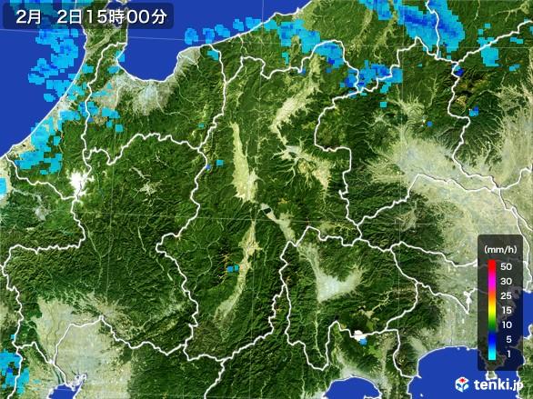 長野県の雨雲レーダー(2017年02月02日)