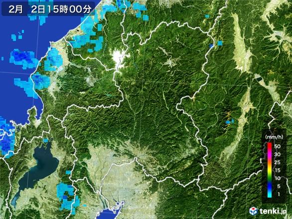 岐阜県の雨雲レーダー(2017年02月02日)