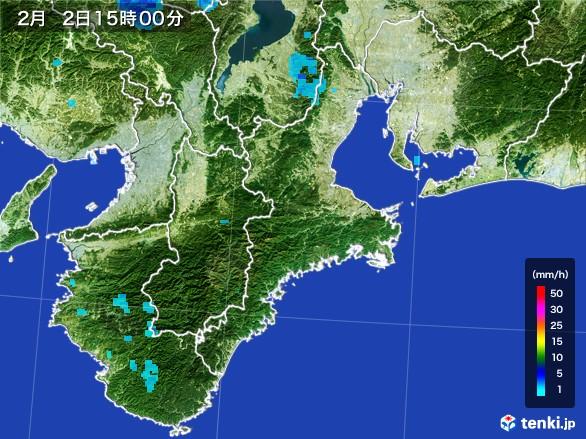 三重県の雨雲レーダー(2017年02月02日)