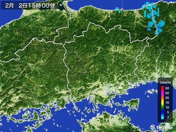 岡山県の雨雲レーダー(2017年02月02日)
